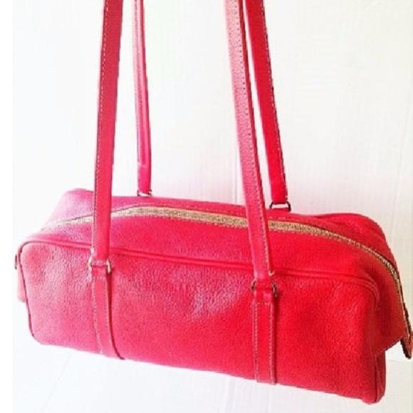 Prada Handbags - Vintage Prada Red Textured Leather Boxy Satchel